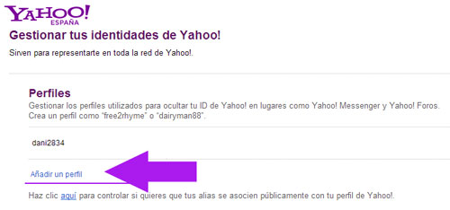 Crear un perfil con Yahoo correo
