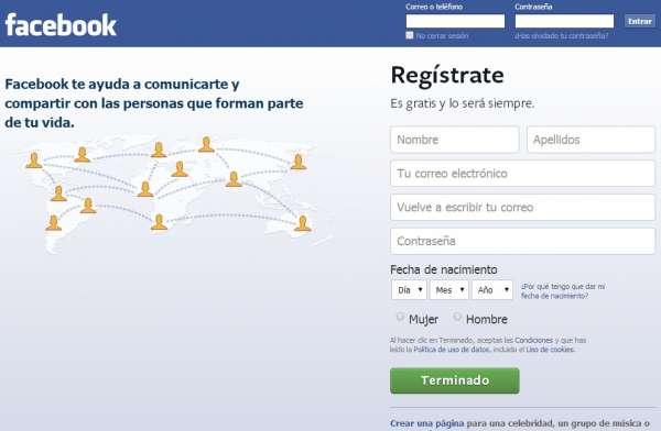 Formulario para Registrarse en Facebook gratis