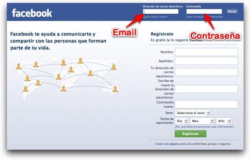 Problemas para iniciar sesión en facebook en español