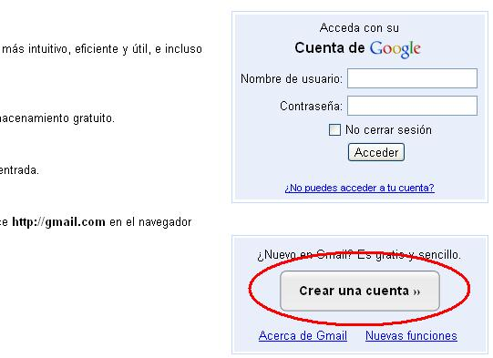Crear una cuenta de correo Gmail