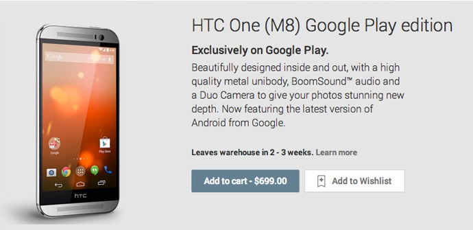 Android L, estará en el HTC One M8 Google Play Edition