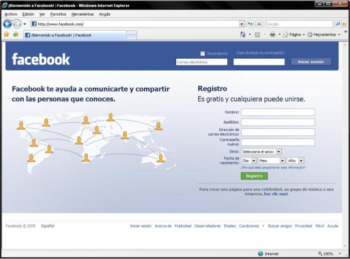 Facebook iniciar session cellular español