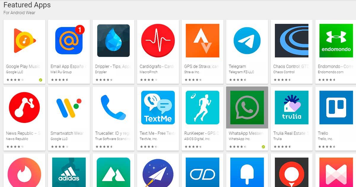 Nueva sección de aplicaciones compatibles con Android Wear