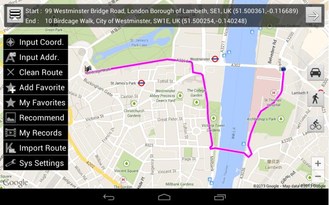 Street View desde el visualizador de rutas Street Runner para Android