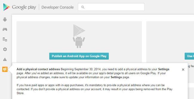 Las aplicaciones pagadas y que ofrecen compras integradas mostraran una dirección física en Google Play
