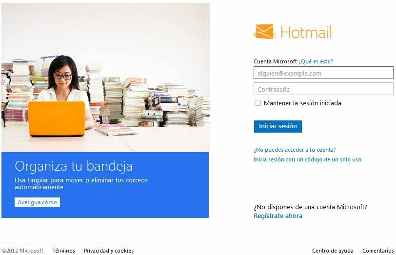 Iniciar sesion en Hotmail con problemas
