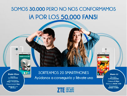 ZTE regalará 20 smartphones al alcanzar 50.000 fans en Facebook