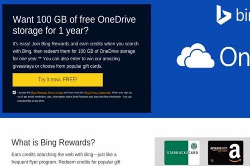 Microsoft te obsequia 100 GB en OneDrive si utilizamos Bing