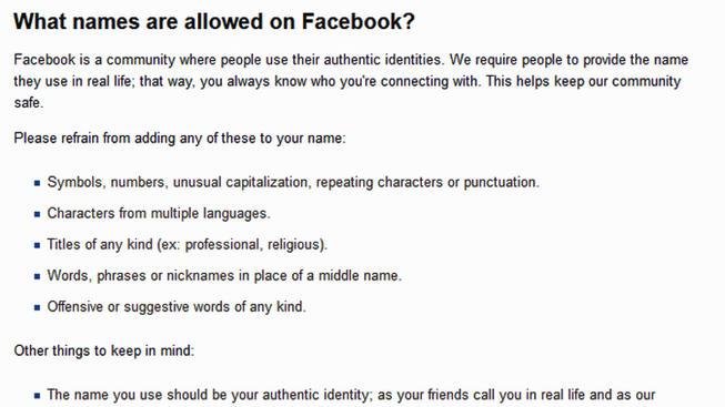 Facebook hace un cambio en el proceso de aplicación de su Política de Nombre Real 2