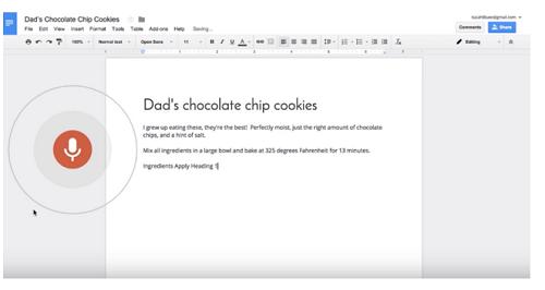 Google Docs para editar y formatear por intermedio de la voz
