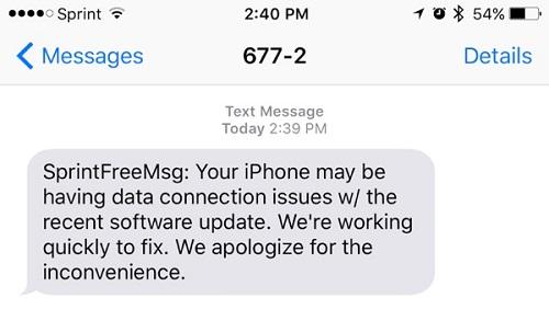 SMS de Sprint a sus usuarios