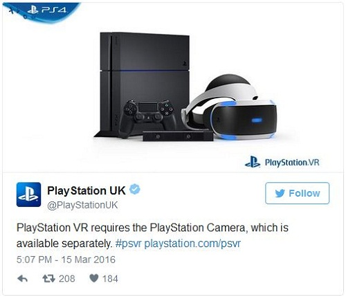 Sony anuncia que no incluirá la cámara PlayStation en PS VR