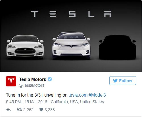 Tesla anuncia revelación de Model 3