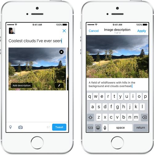 Twitter ahora dejará a los usuarios añadir descripciones en las imágenes de los tweets