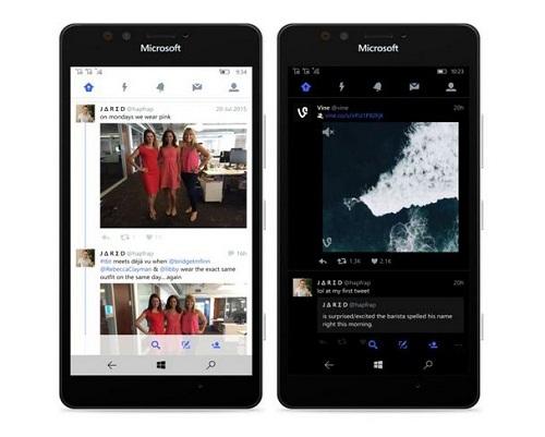 Twitter en Windows 10 Mobile