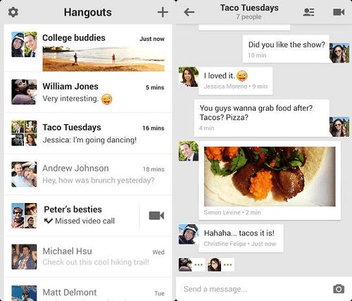 Actualizacion Compartir Hangouts iPhone
