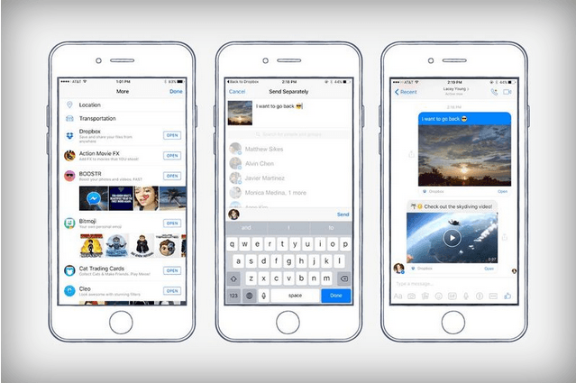 Facebook Messenger can now send and preview Dropbox files