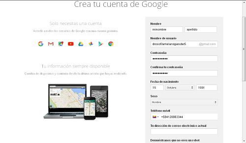 Gmail Cuentas Creacion Registro