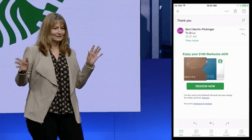 Incluso Starbucks subió al escenario junto a Microsoft
