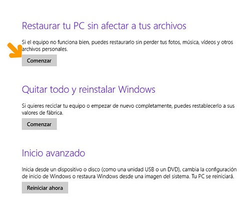 4. Restaurar PC sin afectar a tus archivos