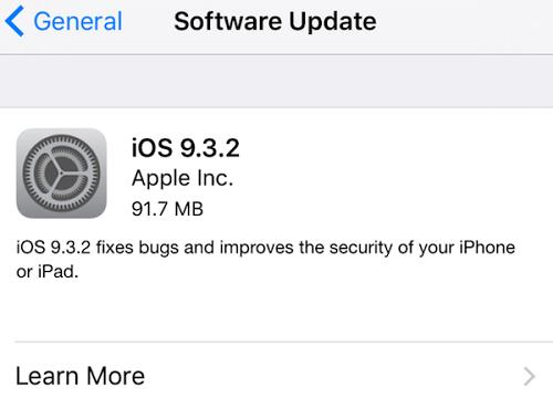 Actualizacion iOS 9.3.2