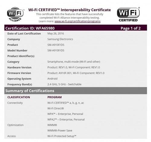 Galaxy A9 Certificacion WFA