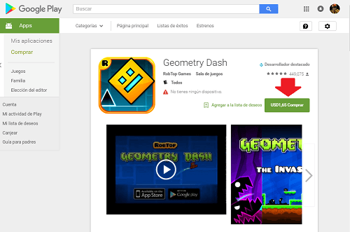 1. Descargando Geometry Dash desde Google Play Store