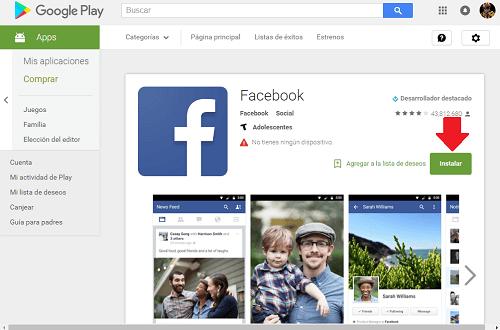1. Descargar Facebook app para Android