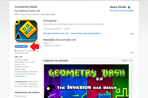 2. Descargando Geometry Dash desde iTunes