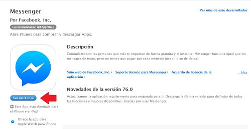 2. Descargar Facebook Messenger en iTunes de www.facebook.com