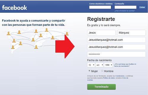 2. Registrar datos en el formulario