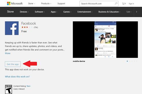 3. Descargar Facebook app para Windows Phone