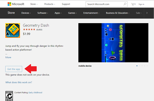 3. Descargar Geometry Dash desde Microsoft Store