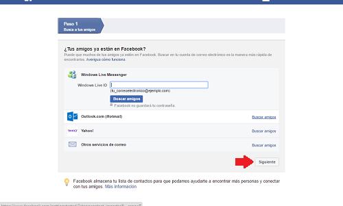 3. Presionar siguiente para ingresar a Facebook