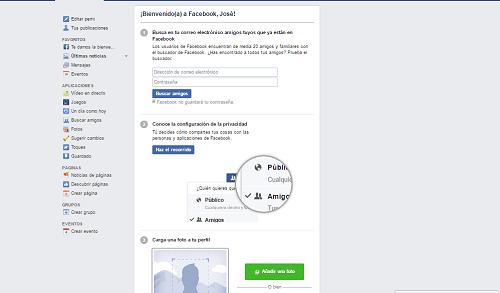 3. Primer ingreso a la nueva cuenta de Facebook