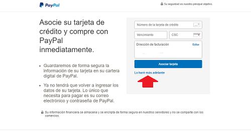 5. Asociar tarjeta de crédito