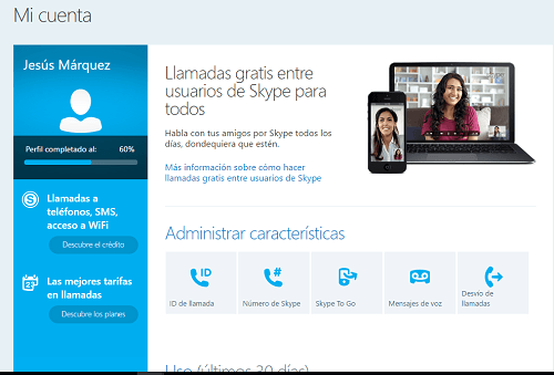5. Cuenta registrada en Skype