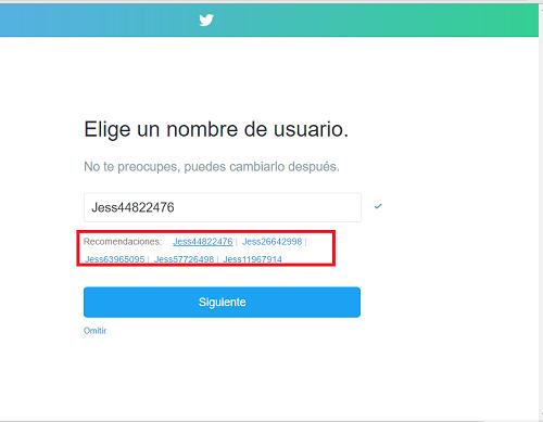 5. Elegir nombre de usuario