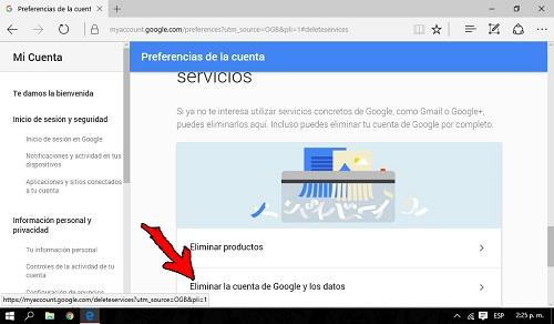 5. Eliminar la cuenta de google