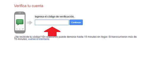 5. Ingresar código de verificación