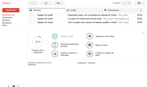 5. Primera entrada a Gmail