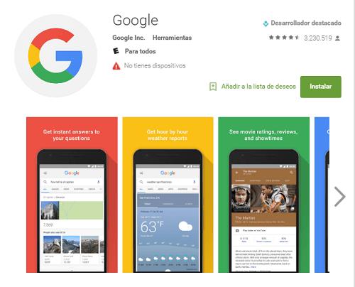 Aplicación de Google