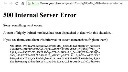 Códigos de error que emitía el sitio web de YouTube
