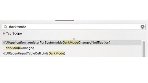 Demostración de parte del código fuente que confirma existencia del Modo Oscuro