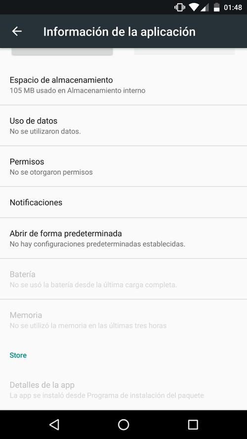App instalada desde APK de manera manual