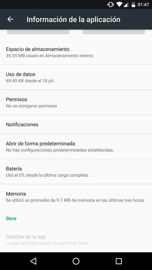 App instalada desde Play Store