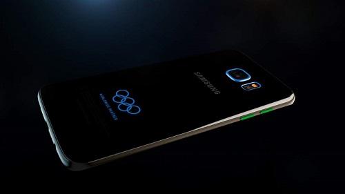 Colores azules destacan en la parte posterior del Galaxy S7 Edge Olimpic Edition