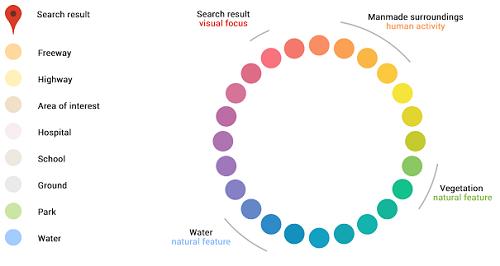 Colores para diferenciar lugares en Google Maps
