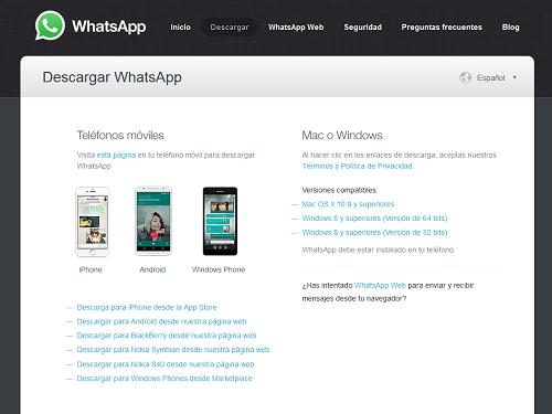 Compatibilidad de descargas de Whatsapp