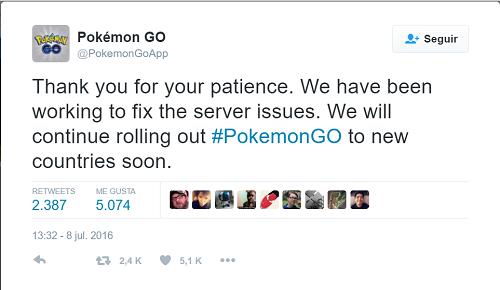 Cuenta de Twitter de Pokémon Go